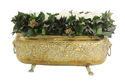 Lot 50 - A pair of embossed brass wine coolers