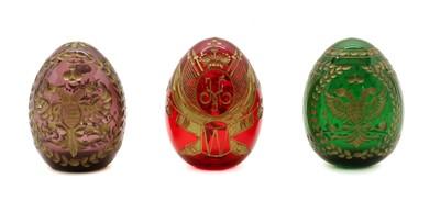 Lot 103 - Three ornamental glass eggs