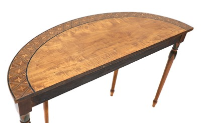 Lot 20 - A George III and later painted and inlaid satinwood pier table