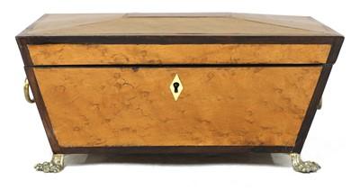 Lot 46 - A Regency bird's-eye maple and thuya sarcophagus box