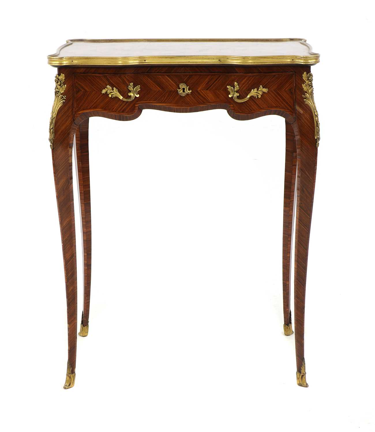 Lot 26 - A Louis XV-style kingwood and ormolu-mounted side table