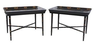 Lot 39 - A pair of Regency-style papier mâché tray-top side tables
