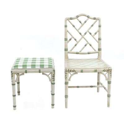Lot 64 - A painted faux bamboo single chair