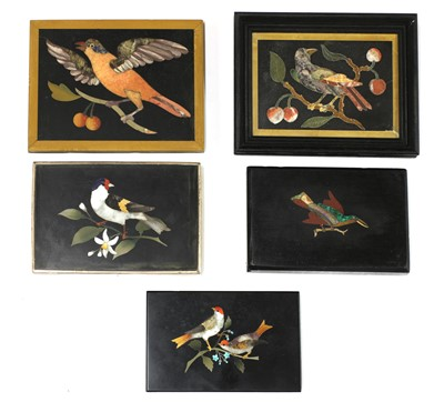 Lot 470 - A collection of Italian grand tour pietra dura paperweights