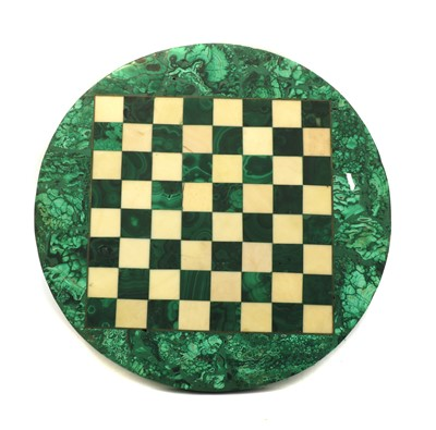 Lot 71 - A small malachite and white marble circular chessboard