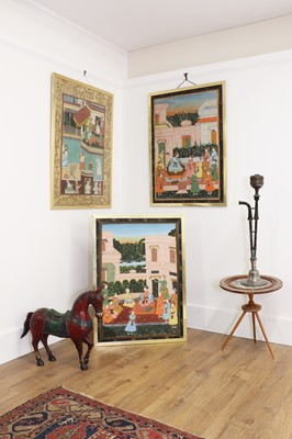 Lot 137 - A pair of large Indian Mughal-style paintings