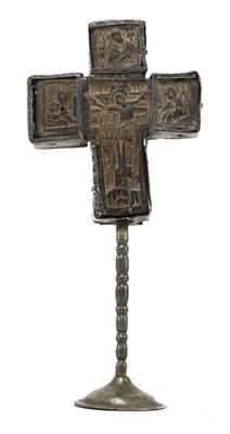 Lot 175 - A carved olivewood Mount Athos crucifix