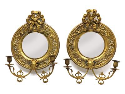 Lot 116 - A pair of brass girandole mirrors