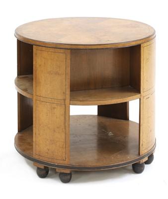Lot An Art Deco walnut circular book table
