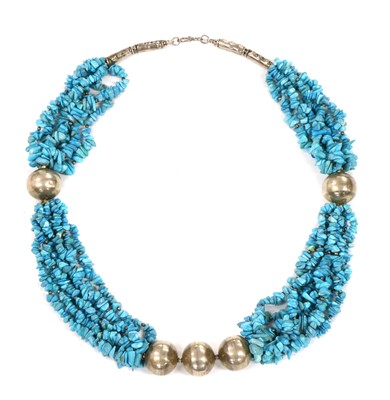 Lot 137 - A silver and turquoise necklace