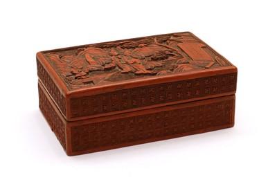 Lot 65 - A Chinese Cinnabar lacquer rectangular box