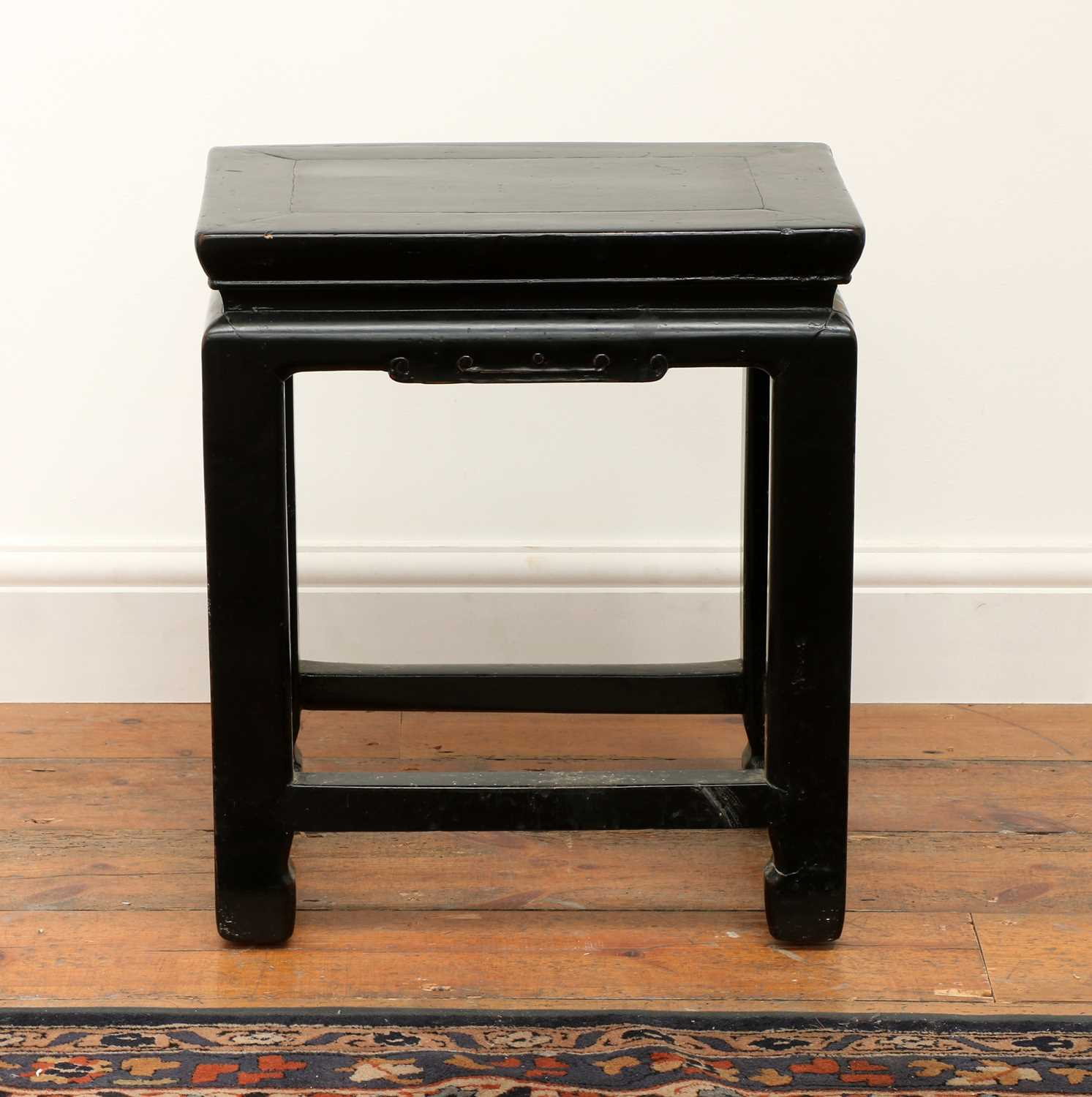 Lot 213 - A Chinese black lacquer stool