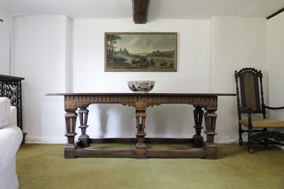 Lot 218 - A Jacobean style oak refectory table