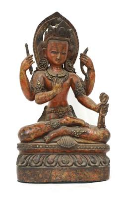 Lot 122 - A Chinese lacquered wood bodhisattva