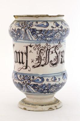 Lot 222 - An Italian blue and white tin-glazed drug jar