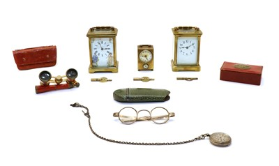 Lot 49 - A  French brass carriage clock