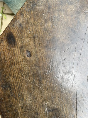 Lot 221 - A primitive elm and ash 'cheese top' cricket table