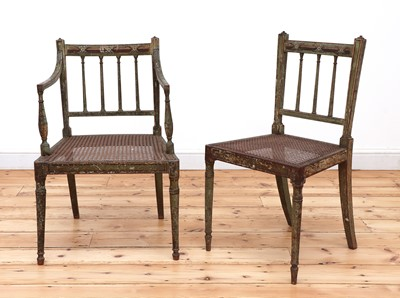 Lot 181 - Two Regency painted chairs