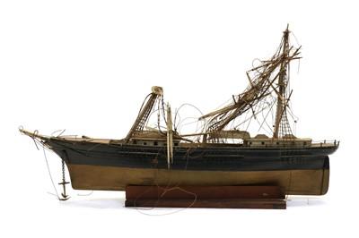 Lot 83 - A 19th century wooden and bone three masted sailing ship