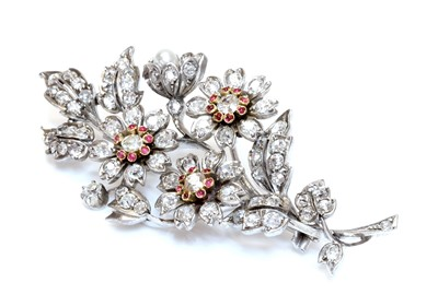 Lot 36 - A Victorian diamond, ruby and pearl spray brooch, c.1880