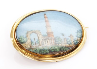 Lot 104 - A Victorian brooch with an Indian painted miniature watercolour on ivory