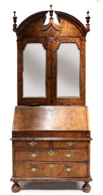 Lot 441 - A walnut bureau bookcase