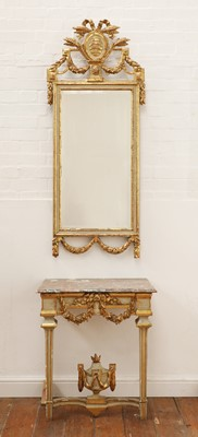 Lot 156 - A Danish giltwood and white-painted mirror and marble top console