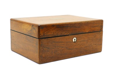 Lot 80 - A 19th century rosewood stationery/vanity travelling box