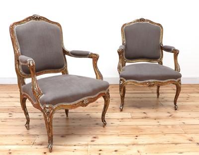Lot 158 - A similar pair of Louis XV-style gilt-framed armchairs