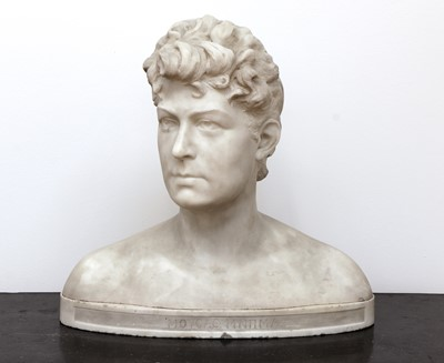 Lot 138 - A carved white marble bust of a woman