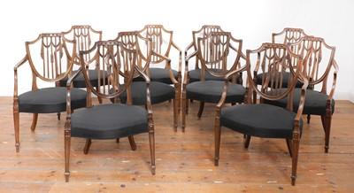 Lot 195 - A set of ten mahogany shield back dining chairs