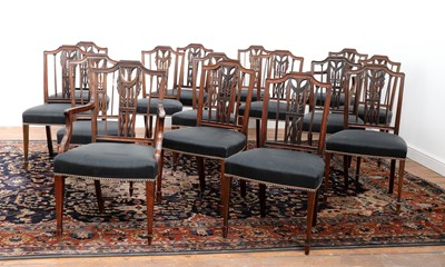 Lot 484 - A composed set of sixteen Gustavian mahogany dining chairs