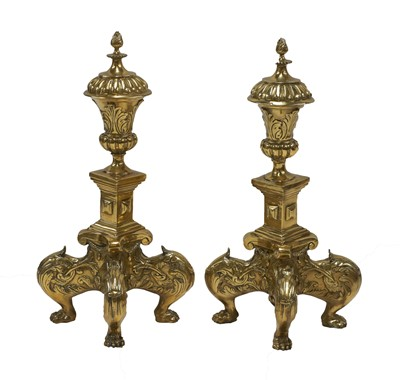 Lot 196 - A pair of large baroque-style cast bronze andirons
