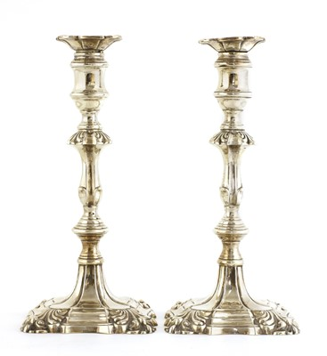Lot 503 - A pair of George II-style silver candlesticks