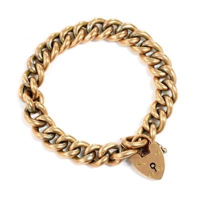 Lot 98 - A gold hollow curb link bracelet