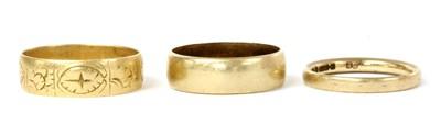 Lot 84 - Three gold wedding rings