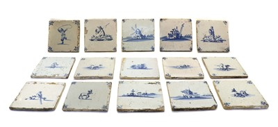 Lot 82 - A box of 18th and 19th century Delft tiles
