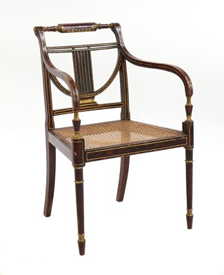 Lot 458 - A Regency simulated rosewood open armchair
