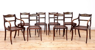 Lot 109 - A set of eight simulated rosewood dining chairs