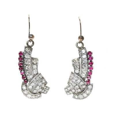 Lot 171 - A pair of ruby and diamond drop earrings