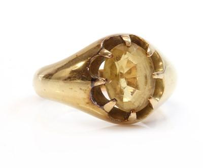 Lot 135 - A gentlemen's 18ct gold single stone citrine ring