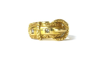 Lot 4 - A late Victorian 18ct gold diamond set buckle ring