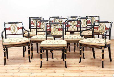 Lot 154 - A set of twelve Regency-style painted dining chairs