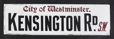 Lot A 'City of Westminster 'Kensington Rd. S.W' Vitrolite road sign