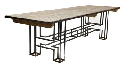 Lot 433 - A large pine and steel industrial refectory table
