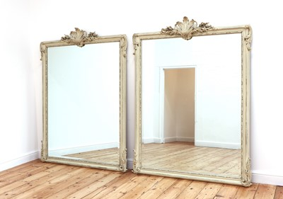 Lot 490 - A pair of white painted mirrors