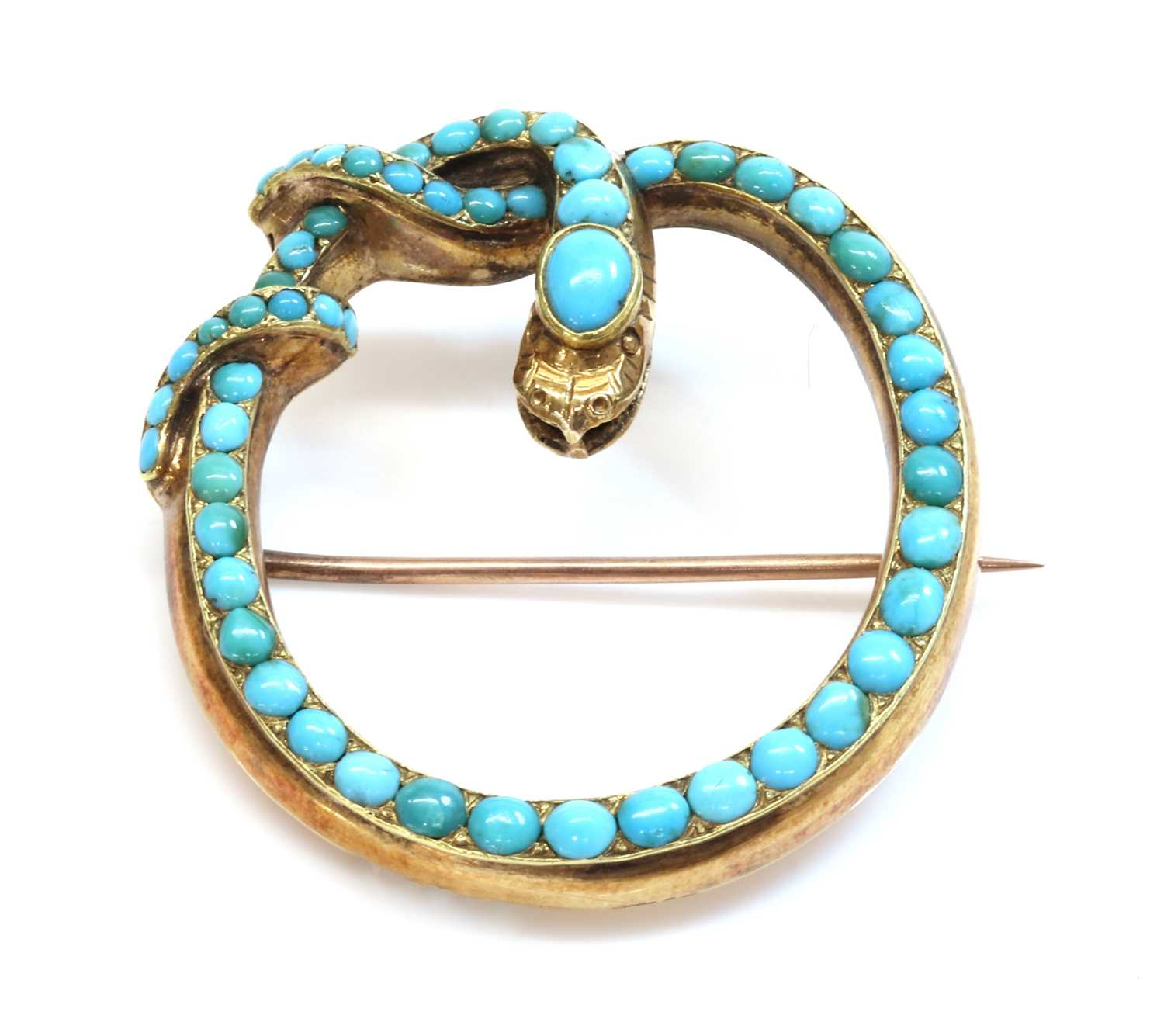 Lot 29 - A Victorian gold turquoise set snake brooch/pendant