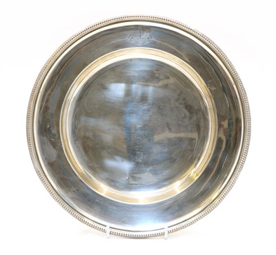 Lot 44 - A circular silver tray by Mappin and Webb