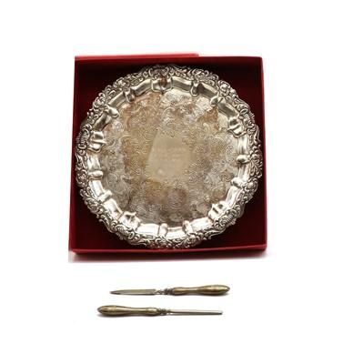 Lot 60 - A continental silver salver