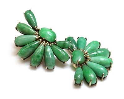 Lot 187 - A pair of silver gilt fan shaped jade earrings, c.1935